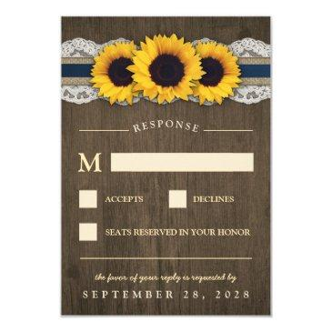 sunflower rustic blue burlap wedding rsvp