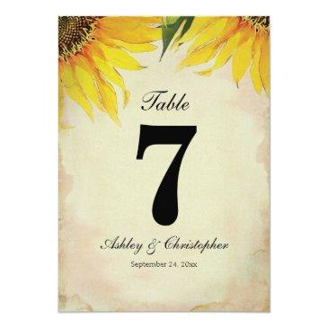 sunflower rustic wedding reception table number
