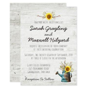 sunflower & rustic wood farm wedding invitations