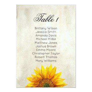 sunflower seating chart. rustic wedding table plan