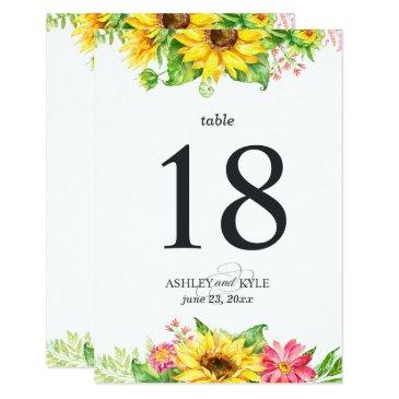 sunflower table number with white background