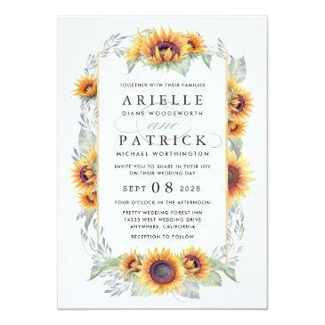 Small Sunflower Vintage Watercolor Wedding Front View