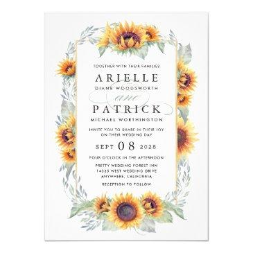 sunflower vintage watercolor wedding
