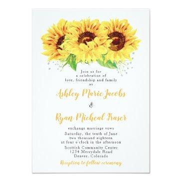 Small Sunflower Wedding Invitation Watercolor Floral Front View