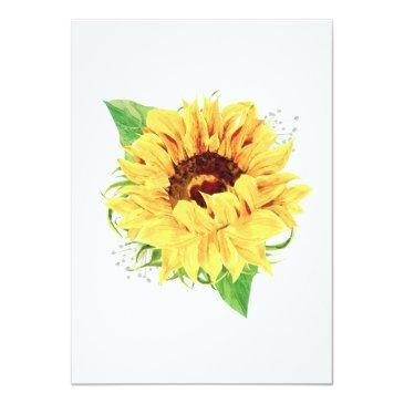Small Sunflower Wedding Invitation Watercolor Floral Back View