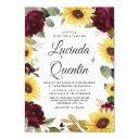 sunflowers and roses burgundy red rustic wedding invitation