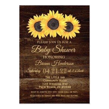 Small Sunflowers Baby Shower Invitation Rustic Wood Front View
