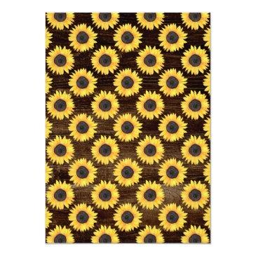 Small Sunflowers Baby Shower Invitation Rustic Wood Back View