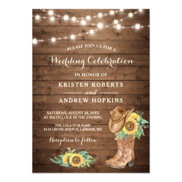 Small Sunflowers Boots String Lights Western Wedding Invitation Front View