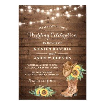 sunflowers boots string lights western wedding