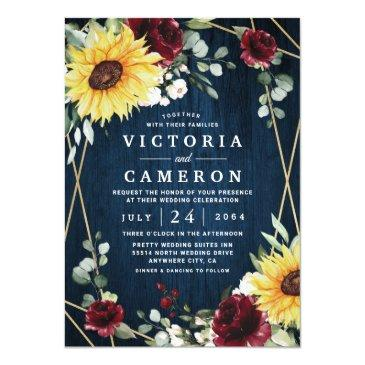 Small Sunflowers Burgundy Roses Navy Geometric Wedding Invitation Front View