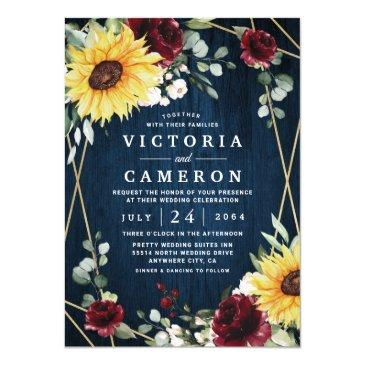 sunflowers burgundy roses navy geometric wedding invitation