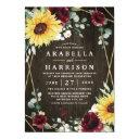 sunflowers burgundy roses rustic geometric wedding invitation