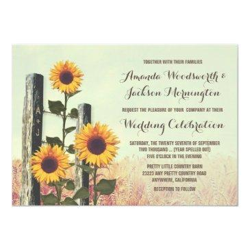 Small Sunflowers Carved Fence Post Wedding Front View