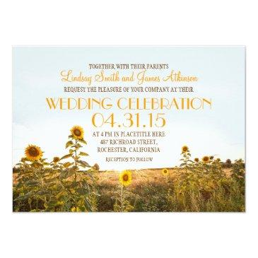 Small Sunflowers Country Rustic Wedding Invitation Front View