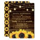 sunflowers mason jar lights wedding invitations