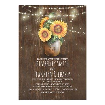 Small Sunflowers Mason Jar String Lights Barn Wedding Front View