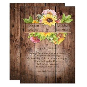 sunflowers peonies greenery barnwood wedding
