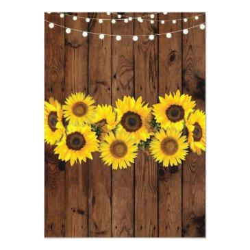 Small Sunflowers Wood Wedding Rustic Floral Light Invite Back View