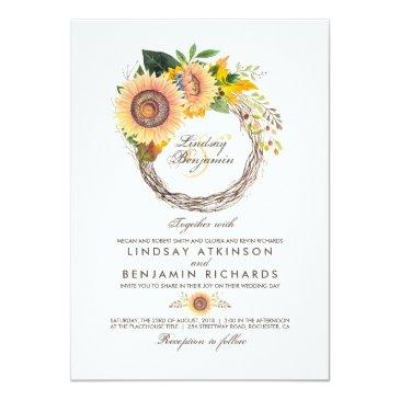 Small Sunflowers Wreath Rustic Fall Wedding Front View