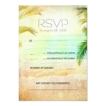 Small Sunset Beach Romantic Wedding Rsvp Invitationss Front View