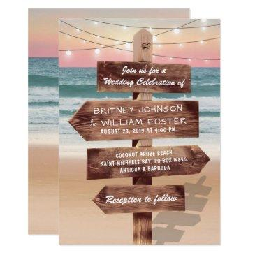 sunset beach tropical destination wedding invitation