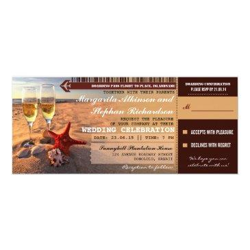 sunset beach wedding boarding pass
