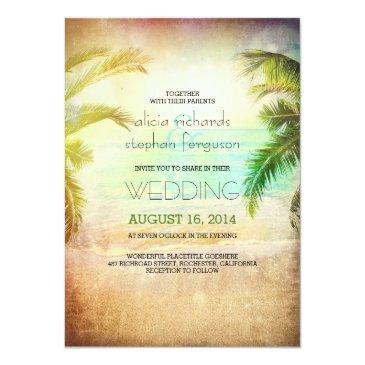 Small Sunset Beach Wedding Invitation Front View