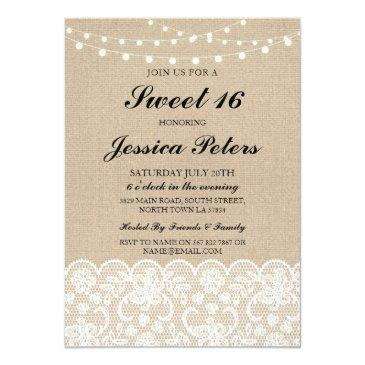 sweet 16 birthday lights rustic burlap lace invite