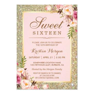 sweet 16 birthday | pink floral gold glitters