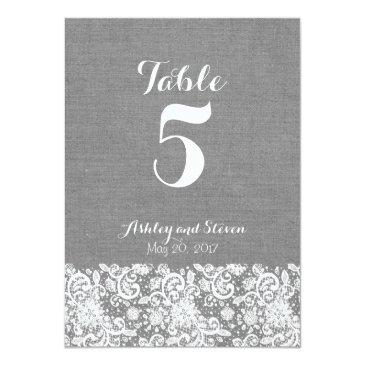 table number rustic wedding - gray burlap and lace