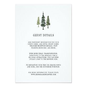 Small Tall Pines Wedding Guest Details Invitationss Front View