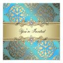 teal blue black gold damask party