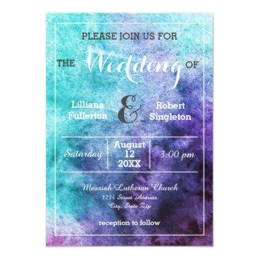 teal blue purple watercolor - wedding