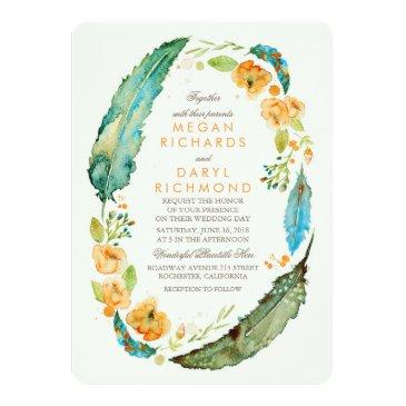 Small Teal Bohemian Floral Feathers Botanical Wedding Invitation Front View