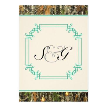 Small Teal Camo Rustic Hunting Wedding Invitations Front View