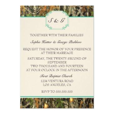 Small Teal Camo Rustic Hunting Wedding Back View