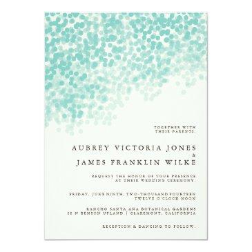 Small Teal Light Shower | Rustic Wedding Invitation Front View