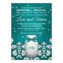 teal mason jar with fireflies wedding invitations