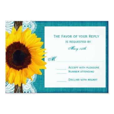 teal sunflower rustic country wedding rsvp