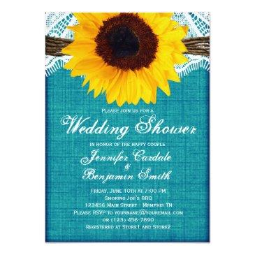 teal sunflower rustic wedding shower invites