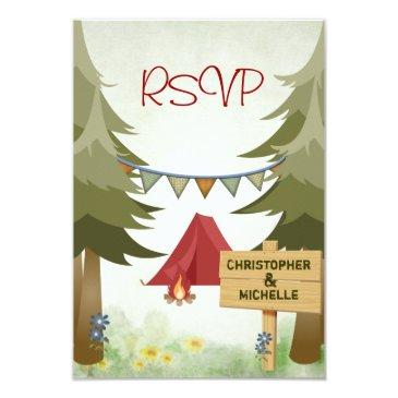 tents and campfire woodland camping wedding rsvp
