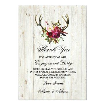 Small Thank You  Engagement Wedding Antlers Floral Front View