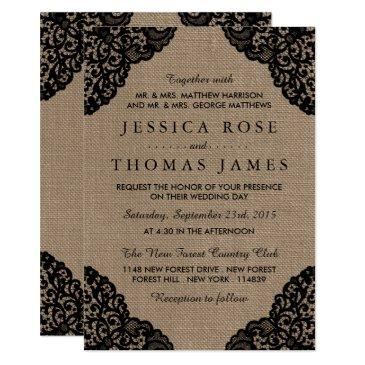 the black lace on rustic burlap wedding collection invitation