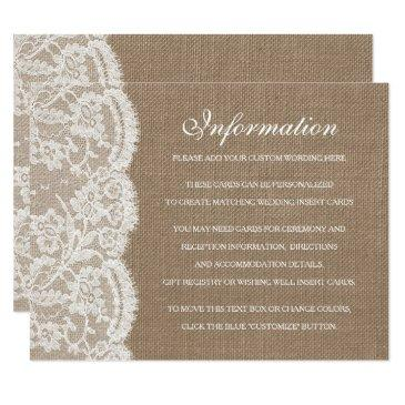 the burlap & lace wedding collection detail