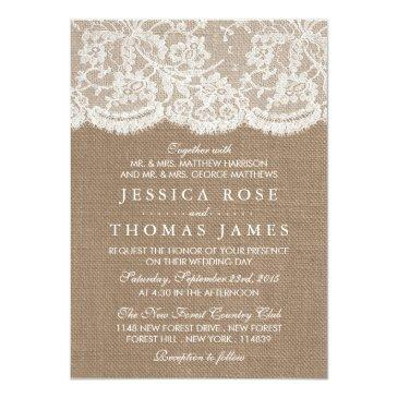 Small The Burlap & Lace Wedding Collection Invitationss Front View
