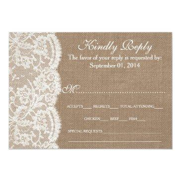 Small The Burlap & Lace Wedding Collection Rsvp Front View