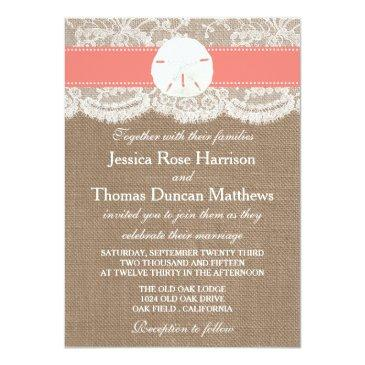 Small The Coral Sand Dollar Beach Wedding Collection Invitation Front View