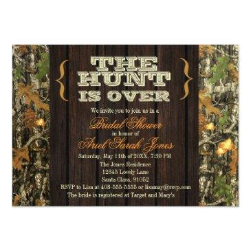 Small The Hunt Is Over Camo Bridal Shower Invitation Front View
