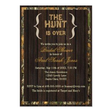Small The Hunt Is Over Camo Bridal Shower Invitations Front View